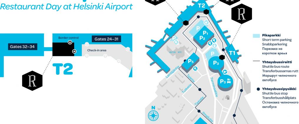 A map of restaurants at the airport.