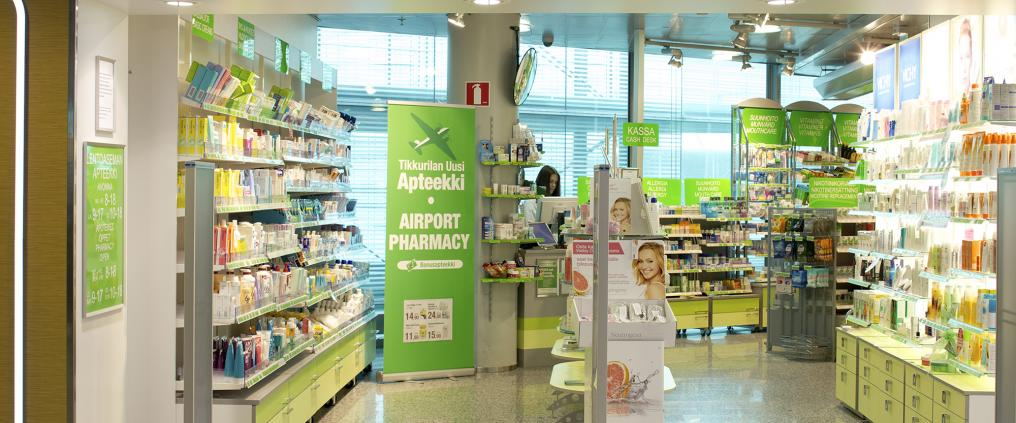Pharmacy's store front at Helsinki Airport arrivals.