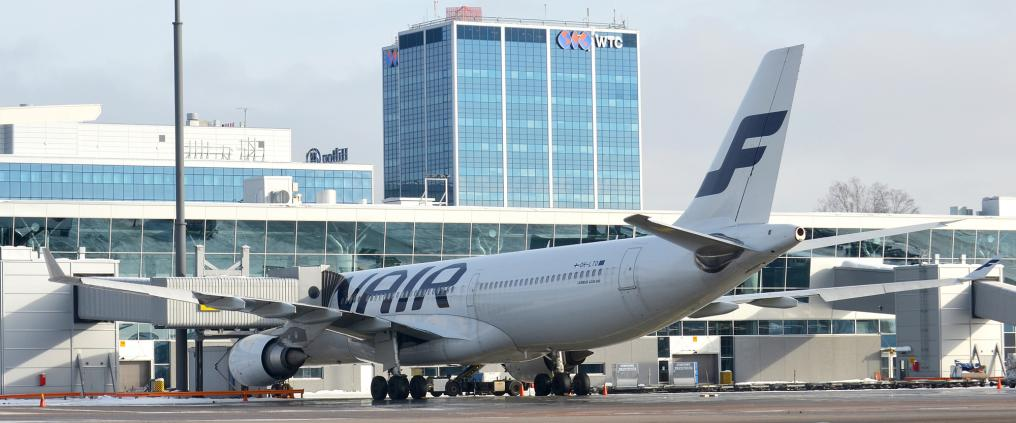 A Finnair airplane at airport.