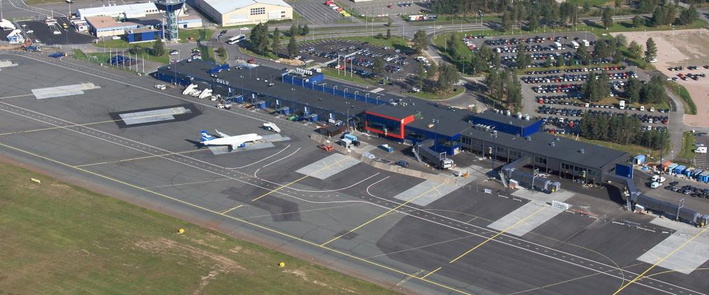 An aerial image of Oulu airport.
