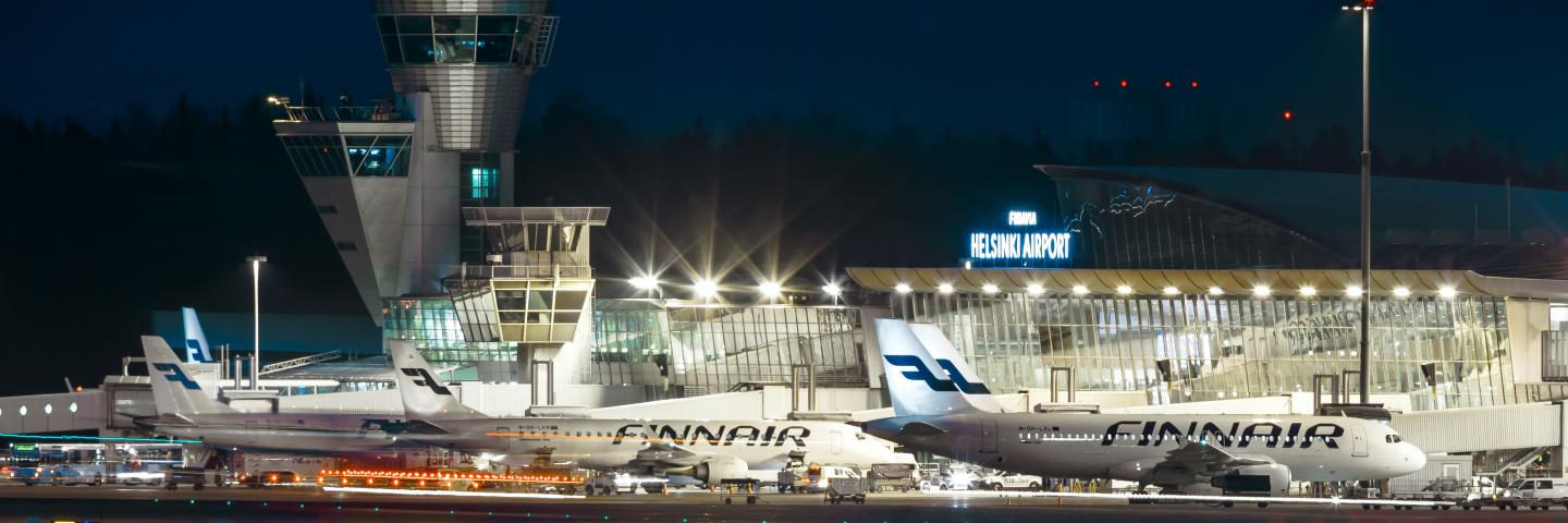Helsinki Airport at night time.
