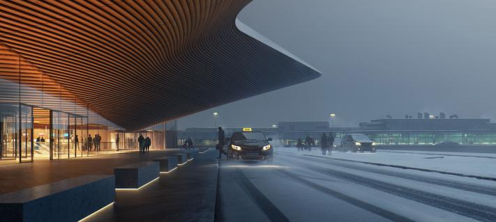 Helsinki Airport architectural visualization.