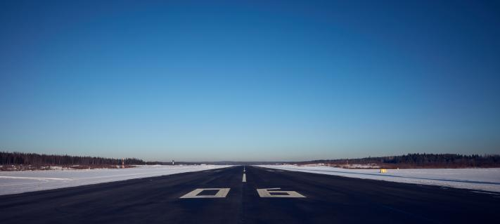 Empty runway during winter.