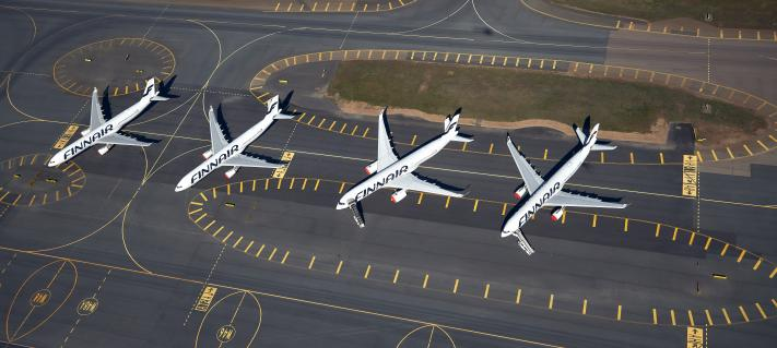 Aerial photo of airplanes on apron